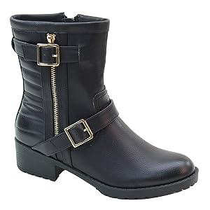 New Brieten Women's Buckle Middle Calf Flat Boots (9, Black)