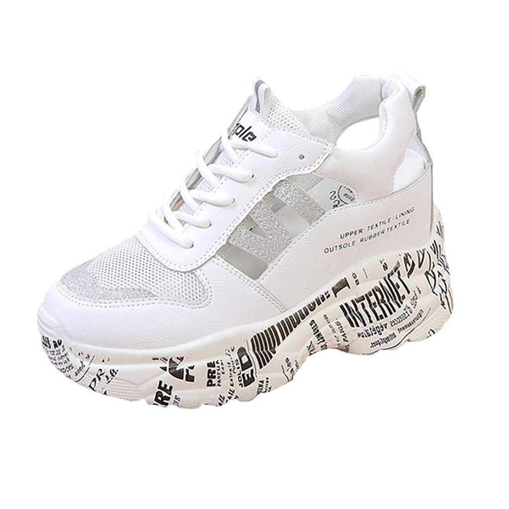 Walking Shoes for Women Casual Lace Up Lightweight Sneakers Stylish Athletic Shoes Silver