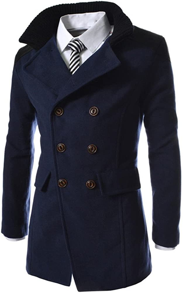 TheRang Men Jacket Warm Coat Winter Trench Long Outwear Button Smart Overcoat