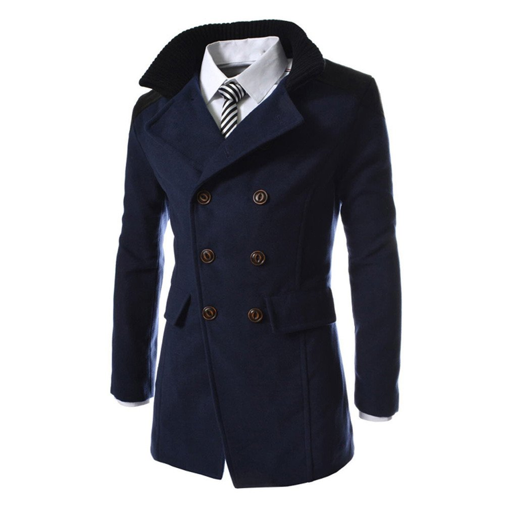 Forthery Clearance Men's Trench Coat Winter Warm Long Jacket Double Breasted Overcoat FT-Mens Coat