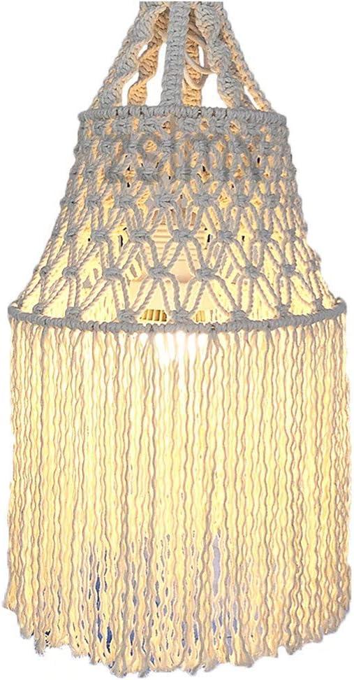 Macrame cuerda de algodón o paño pantalla de lámpara, Lámpara ...