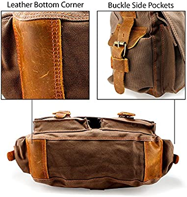f103d588346c GEARONIC GEARONIC Mens Canvas Leather Messenger Bag for 14