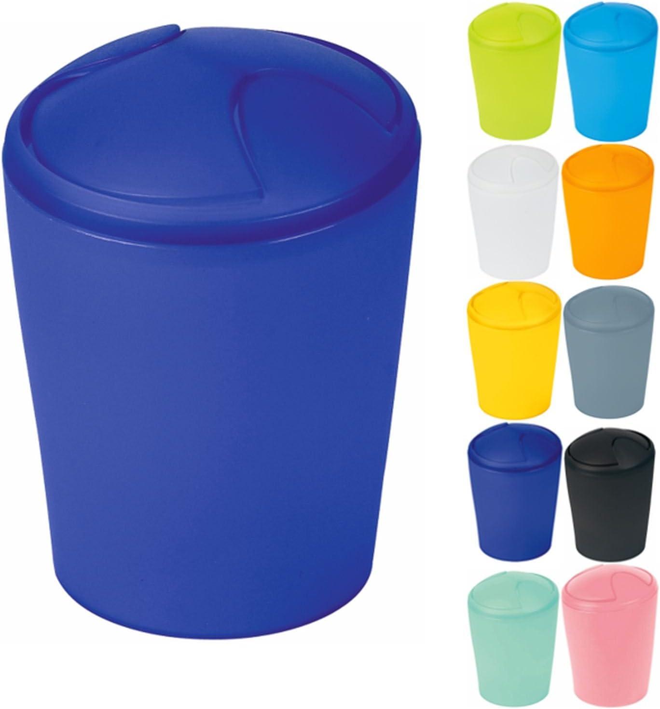 Spirella colección Move-Papelera de baño, Tapa basculante, 15x15x21 cm (2 L), Polipropileno, Azul