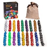 Yellow Mountain Imports 126 Polyhedral Dice Set (18 Colors) - Seven Varieties - Velvet Pouch for Storage