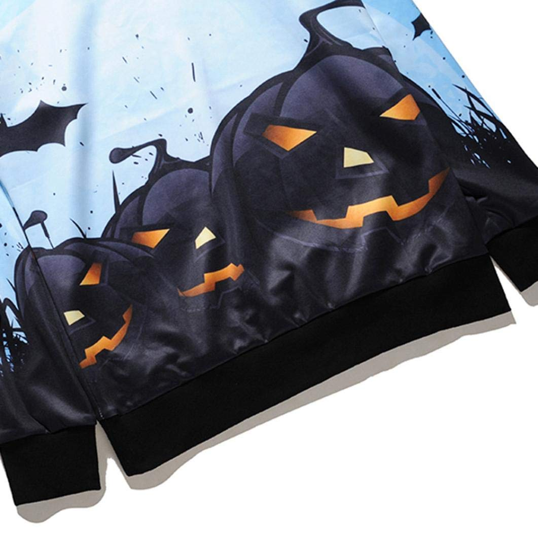 kaifongfu Men Scary Halloween Tops with Pumpkin 14D Print Long Sleeve Party Hoodie Blouse(Blue,S) by kaifongfu-mens clothes (Image #6)