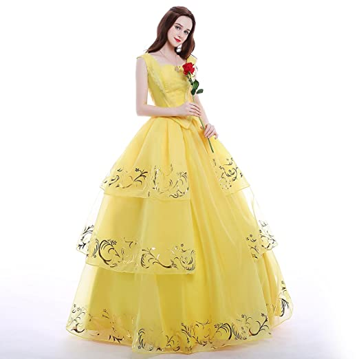 Amazoncom Icos Women Girl Princess Belle Dress Up Ball Gown Long