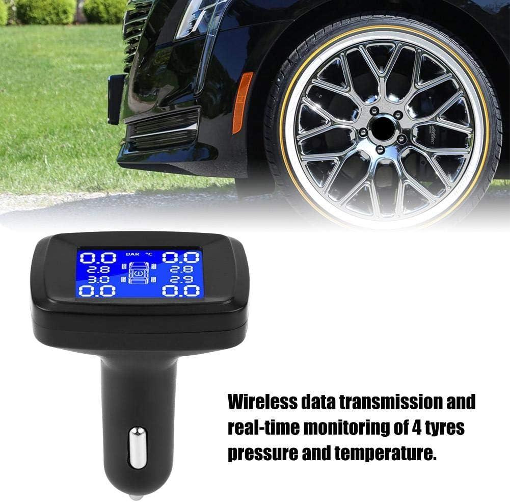 Monitor de presi/ón de neum/áticos Kuuleyn monitor LCD para encendedor de cigarrillos con 4 sensores externos sistema de control de presi/ón de neum/áticos de coche