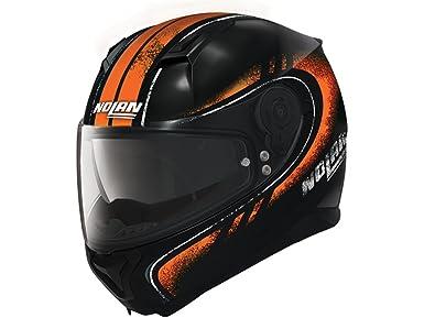 Amazon.es: Nolan N87 Fulgor Integral casco moto policarbonato N- Com - Metal Negro Naranja
