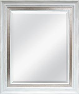 MCS 16x20 Inch Wall Mirror, 21.5x25.5 Inch Overall Size, White Woodgrain Finish
