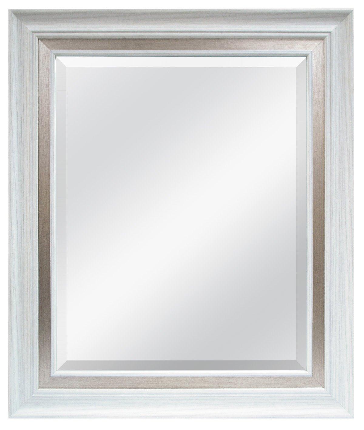 MCS 16x20 Inch Wall Mirror, 22x28 Inch Overall Size, White Woodgrain (47691)