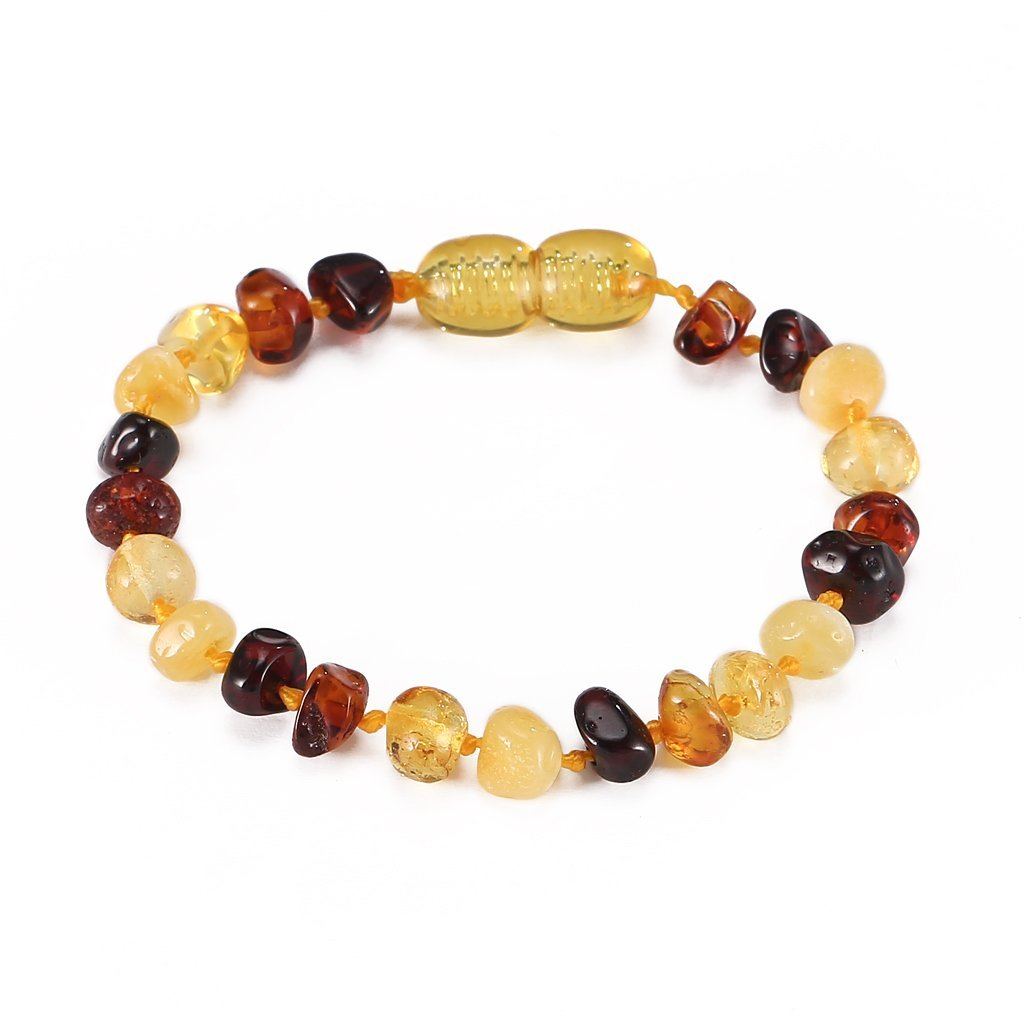 Natural Anti Inflammatory Beads.Teething Pain Reduce Properties 6.5 Inches Best Baltic Amber Teething Bracelet or Anklet for Baby Cherry - Baby Gift Sets Unisex