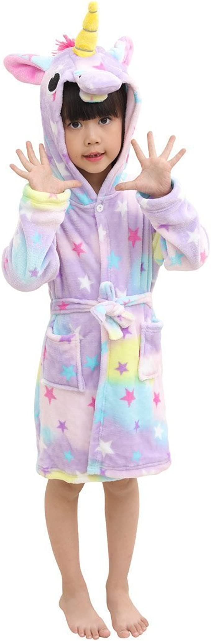 Ex Highstreet Kids Girls Pink Unicorn Print Hooded Fleece Dressing Gown Robe Bathrobe up to 7 Years