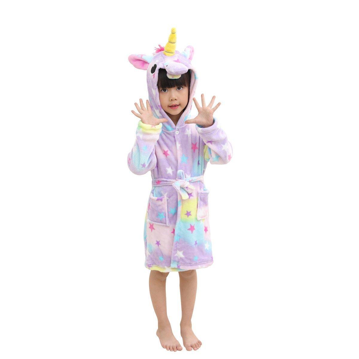 Lantop Kids Soft Bathrobe Comfy Unicorn Flannel Robe Unisex Hooded Gift All Seasons Sleepwear