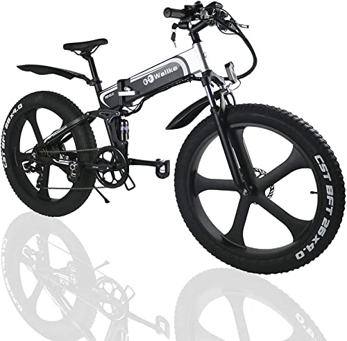 W Wallke Folding Aluminum Electric Bike 48V 10.4ah Removable Battery Fat Tire Snow Mountain Bike 750W Beach Cruiser Adult Assisted E-Bike Double Disc Hydraulic Brake 26 INCH, 26 ebike