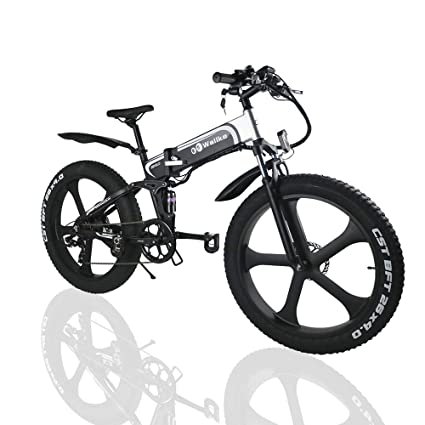 887d988611d W Wallke Folding Aluminum Electric Bike 48V 10.4ah Removable Battery Fat  Tire Snow Mountain Bike