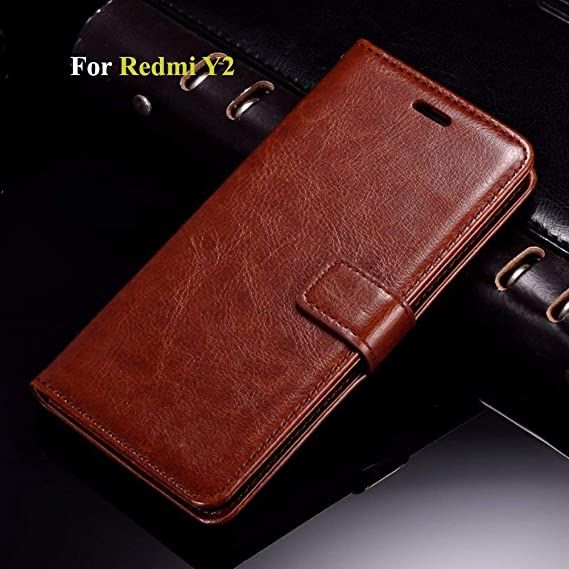 new style 96f82 088af Thinkzy MI26-LE2 Flip Cover Case for Redmi Y2 (Brown)