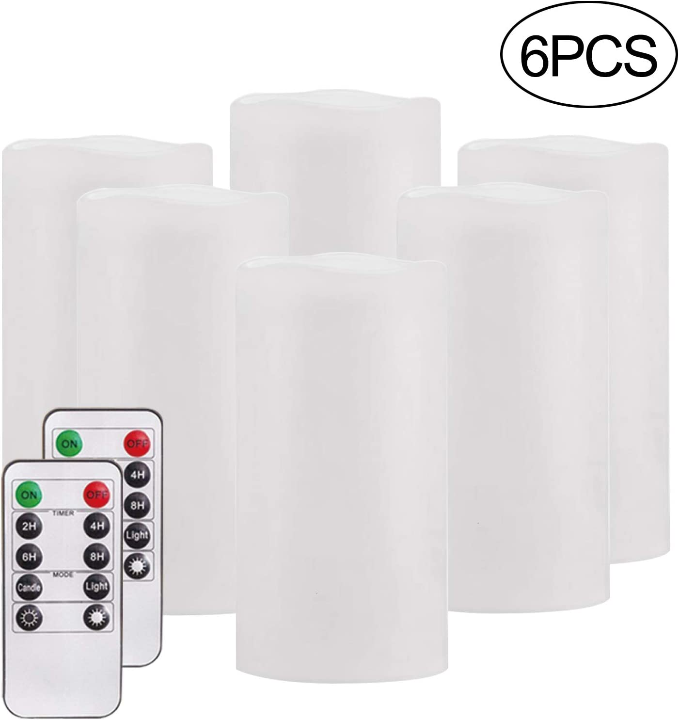 """Flameless Candles,Salipt LED Flickering Candles Set of 6 (H 6"""" xD 3"""") Battery Operated Candles,Waterproof Flameless Candles, Resin Plastic, Indoor Outdoor Use,White"""