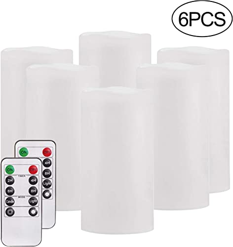 Flameless Candles,Salipt LED Flickering Candles Set of 6 H 6 xD 3 Battery Operated Candles,Waterproof Flameless Candles, Resin Plastic, Indoor Outdoor Use,White