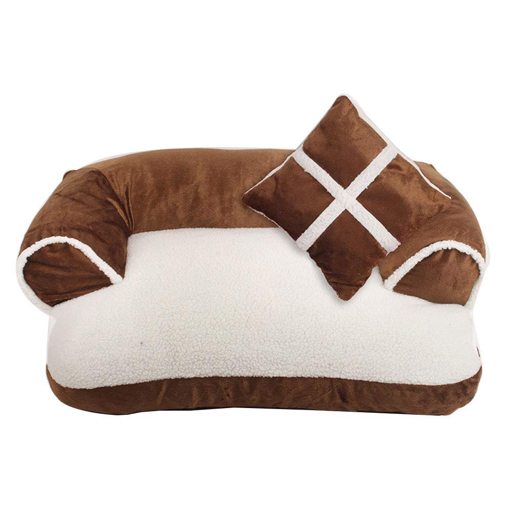Brown 80 cm Brown 80 cm Kennel Pads Dog Beds Sofa Cushion Fully Removable and Washable Dog Bed Pet Supplies Cat Litter Medium-Sized 70-80cm (3 colors) Cat Bed Pet Supplies Cover (color   Brown, Size   80 cm)