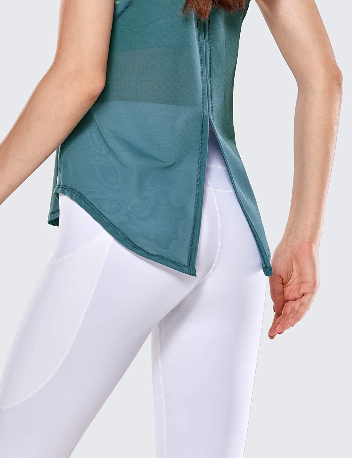 CRZ YOGA Womens Activewear Quick Dry Workout Mesh Running Tie Back Tank Top