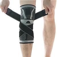 Pour le genou, de compression pour support de genou avec antidérapant Sangle de pression réglable, Genouillères pour course à pied Sports de la douleur d'arthrite et de blessures Recovery- L gris
