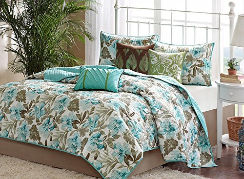 Turquoise Tropical Palm Leaf Beach House Theme California Cal King Quilt