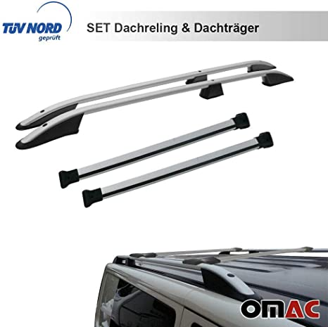 Omac Gmbh Dachreling Dachträger Set Für T5 T6 Ab 2003 Kurzer Radstand Mit TÜv Abe Silber Auto