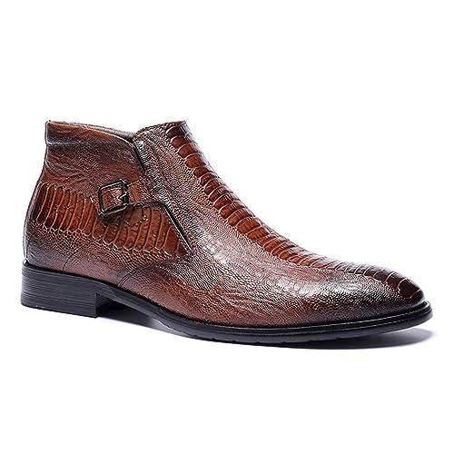 Hombres Chelsea Bootsboots Botines De Cuero Retro Hermosos Y CóModos Zapatos De Vestir Oxford con Cremallera Martin Boots para La Boda De La Fiesta Oficina: ...