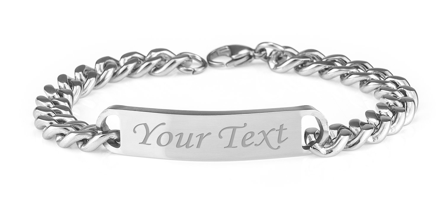 Personalised Men's Solid Stainless Steel Curb Chain Identity Bracelet - Enter Your Custom Text Engrave It Online