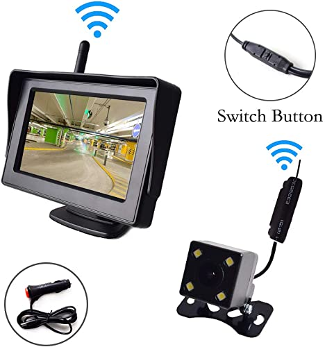 Wireless Backup Camera and 4.3 Monitor Parking System Kit Windshield Built-in Receiver Night Vision Multifunction Switch Button for Car Vehicle Truck RV Camper Trailer 30-60 Feet Range 12-24V