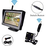 "Wireless Backup Camera and 4.3"" Monitor Parking System Kit Windshield Suction Cup/Dash Stand Built-in Receiver Night Vision Multifunction Switch Button for Car Vehicle Truck RV Camper Trailer 30-60 Feet Range 12-24V"