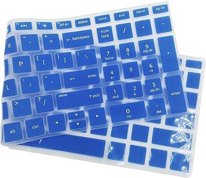 non-brand Cubierta de Piel de Teclado de Escritorio Funda Protectora de Silicona para HP 15.6 Pulgadas - Azul