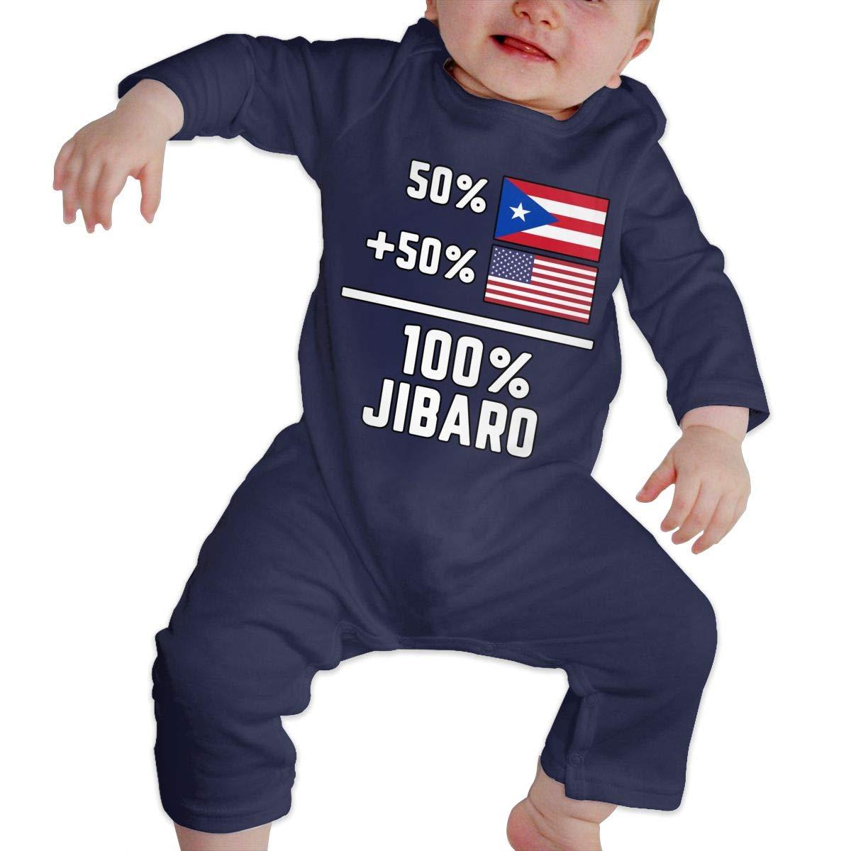 LBJQ8 Puerto Rican American Jibaro Pride Toddler Baby Girls Sleep and Play Jumpsuit Overall Romper