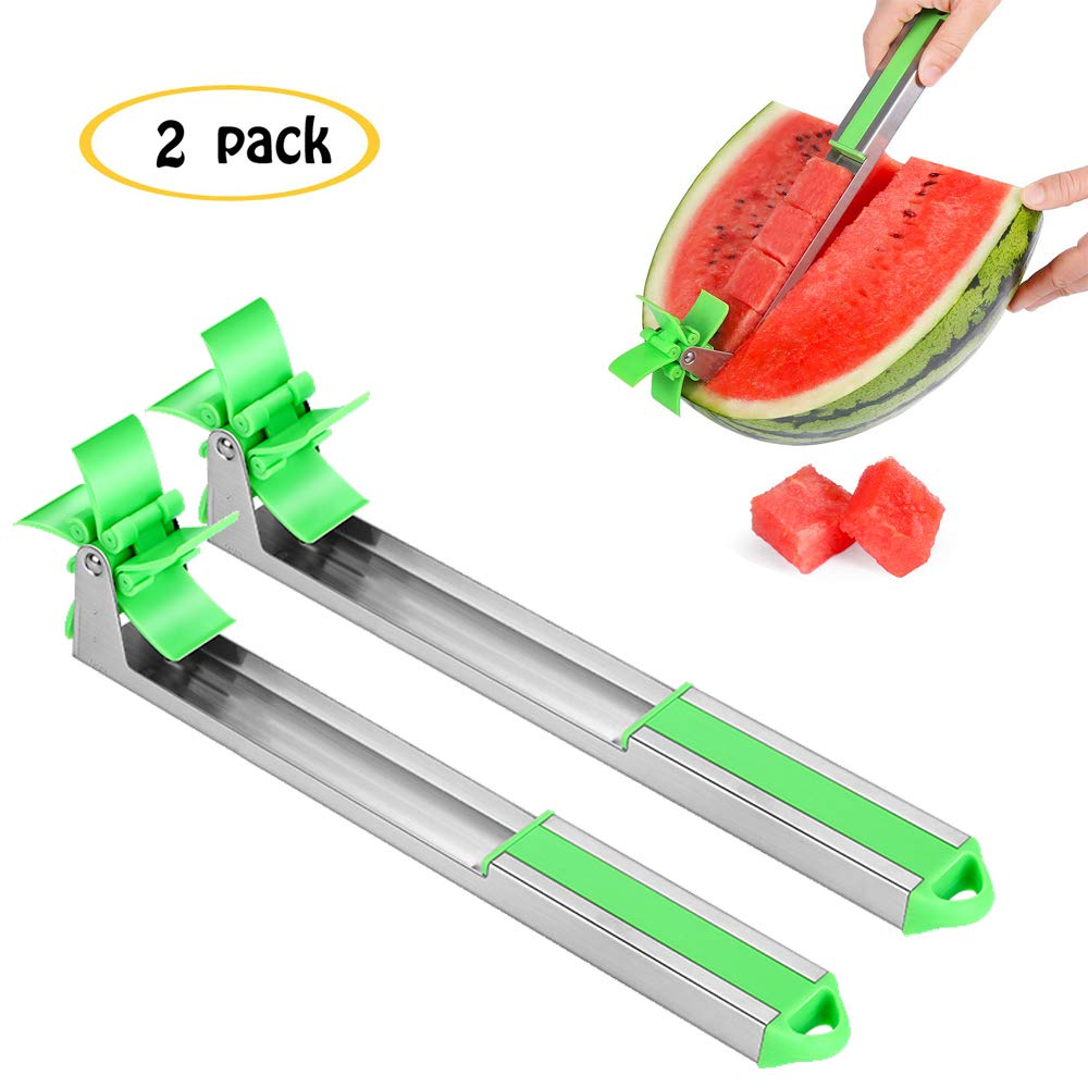 2PCS Watermelon Slicer Cutter Knife, Watermelon Cubes Windmill Cutter, Stainless Steel Fruit Melon Slicer Tools Kitchen Gadgets with Melon by Unihoh