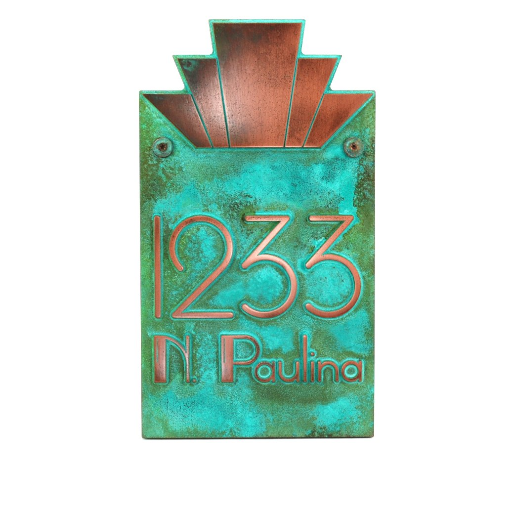 Moderne Art Deco Address Plaque Vertical 8x14 - Raised Copper Verdi Coated by Atlas Signs and Plaques
