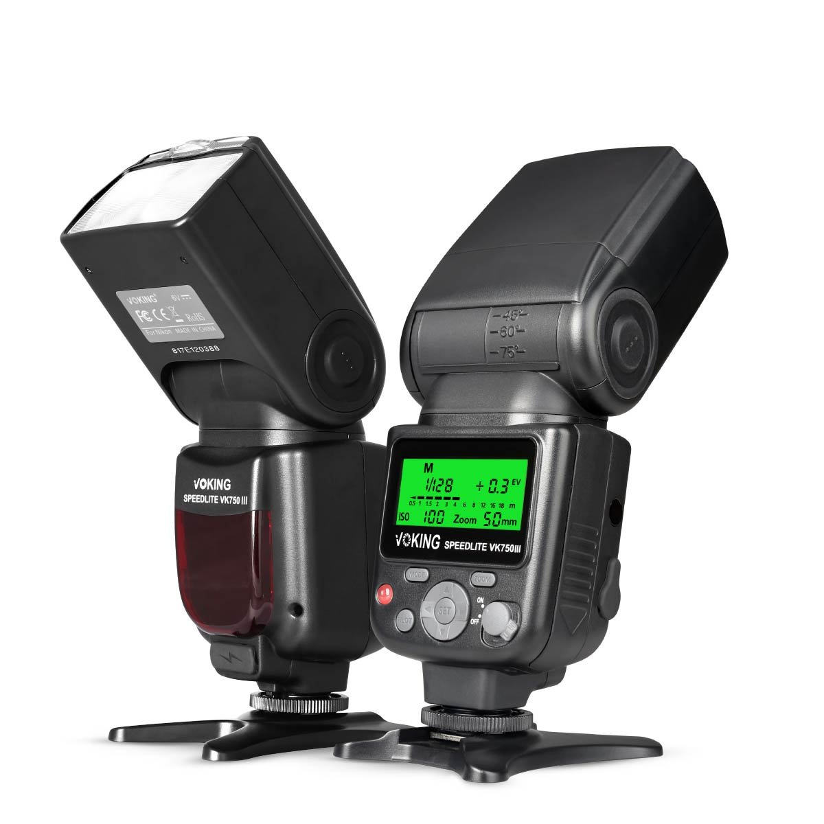Voking VK750III Remote TTL Camera Flash Speedlite with LCD Display for Nikon D3400 D3300 D3200 D5600 D850 D750 D7200 D5300 D5500 D500 D7100 D3100 and Other DSLR Cameras by VOKING