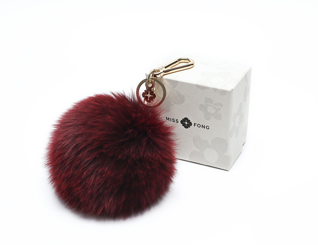 Pompom Keychain by Miss Fong, Bag Charm Fur Ball Keychain Car Key Ring Handbag Keychain(Grey) FA180706-2
