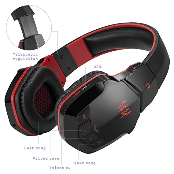 Inalámbrico Gaming Headset Auriculares para PC Tablet iPhone iPad Samsung Smartphone Laptop diwuer Bluetooth V4.1 Auriculares de diadema con micrófono: ...