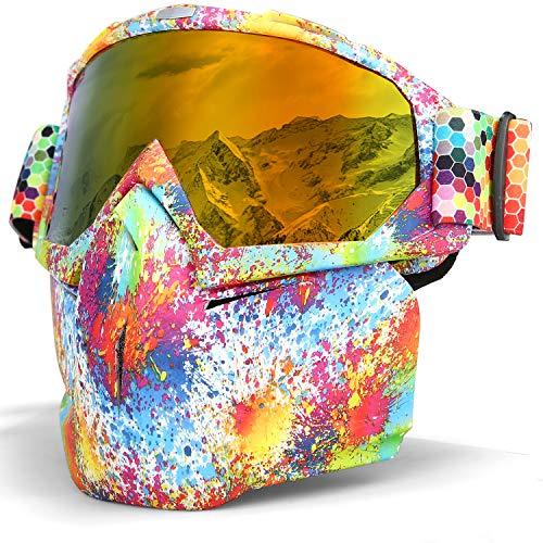 LAMEDA Masques de Lunettes Moto Lunette de Ski Antibuée pour Motocross Motoneige Snowboard Casque à Visage Coupe-Vent Anti-UV (Cadre coloré+ Verre Rouge)
