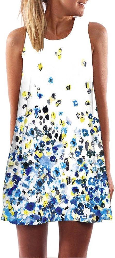 Women Dress Sleeveless Color Block Vintage Loose Floral Print Tank Mini Dress