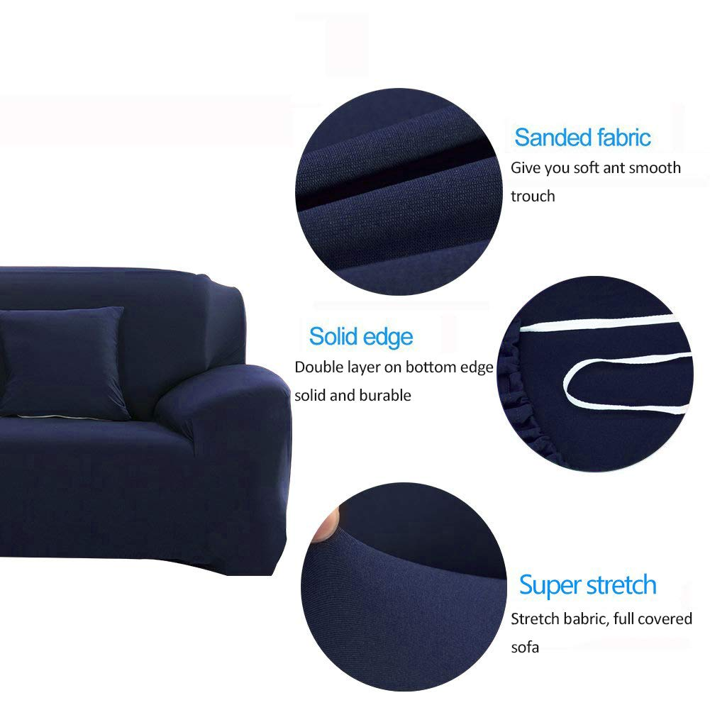INMOZATA 1 Piece Stretch Seat Chair Covers Couch Slipcover Polyester Spandex Living Room Sofas Furniture Washable Slip Sofa Cover Shield Protector(Chair, Navy Blue)