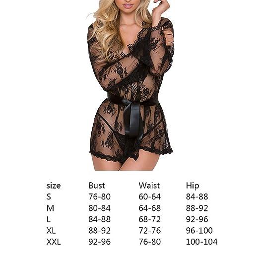republe Transparente Ropa Interior del Traje Chica Dormir camisón Atractivo de Las Mujeres del cordón con la G-String: Amazon.es: Ropa y accesorios