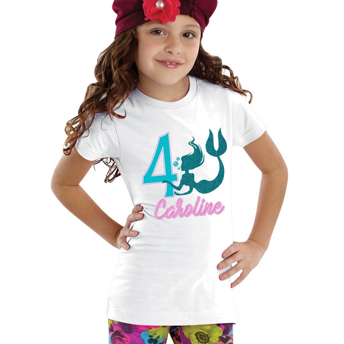 NanyCrafts' Personalized Mermaid Birthday Glitter Girl's Shirt 5/6Y White