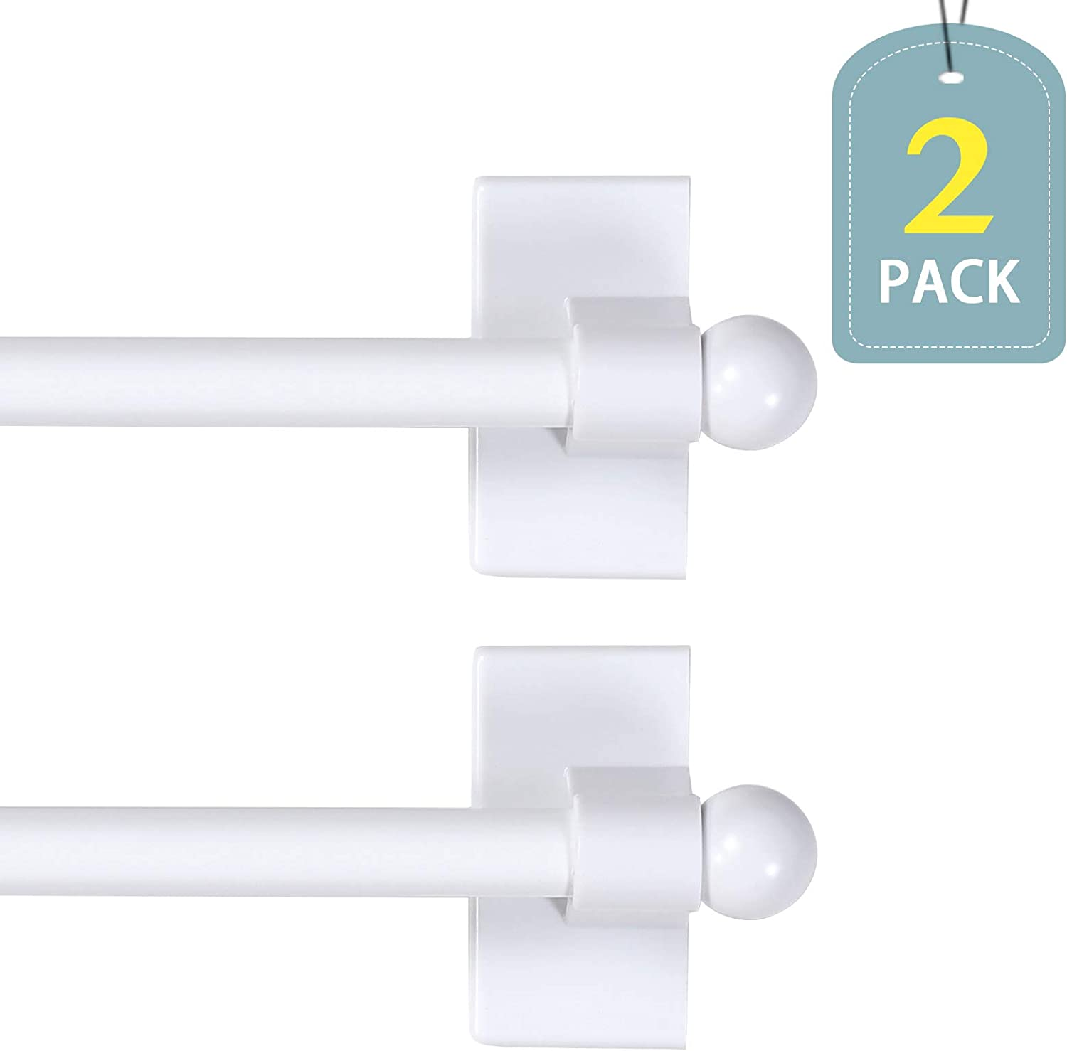 1//2 Inch Diameter Brown 2-Pack//magnetic curtain rods for metal doors//magnetic towel bar//magnetic curtain rods// Appliance Petite Ball Magnetic Rods Suitable for Any Steel Surface 16 to 28 Inch
