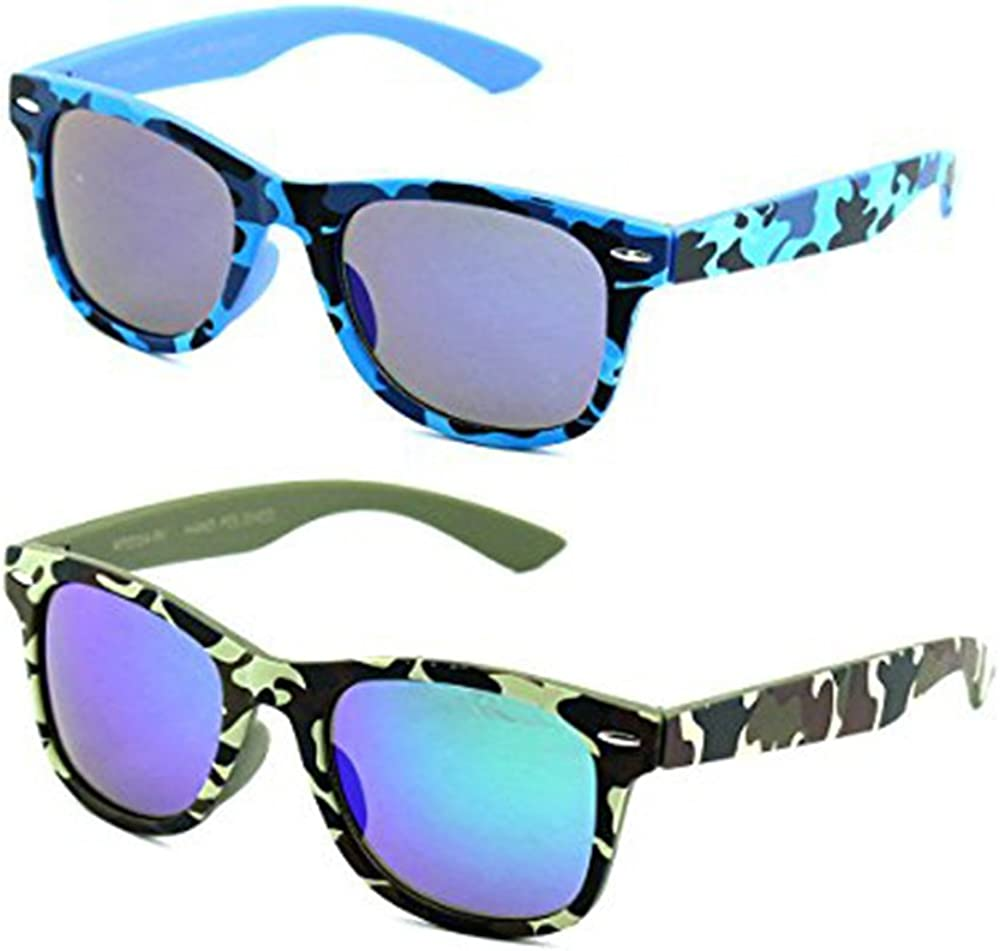 Newbee Fashion Kids 80s Classic Vintage Retro Style Mirrored Lens Camo Design Fashion Sunglasses Camouflage
