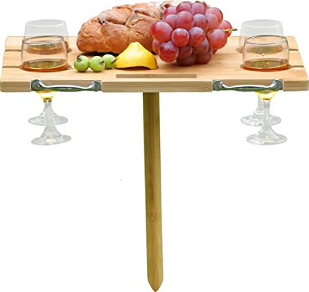 INNO STAGE Portable Bamboo Wine Table for Picnic, Foldable Snacks Cheese Board Plate for Outdoor on Beach Park or Indoor Bed-4 Positions Holder for Glasses