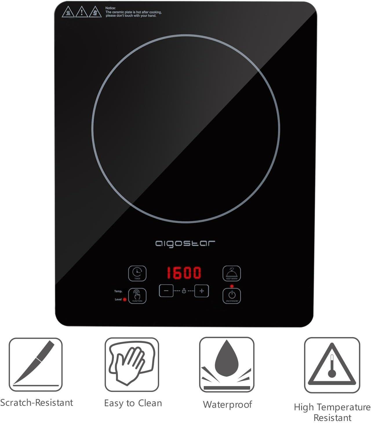Aigostar Set Blackfire 30IAW Incluye cazuela y utensilios.Dise/ño exclusivo 2000 W Placa inducci/ón port/átil multifunci/ón control t/áctil programable 10 niveles potencia funci/ón mantener caliente