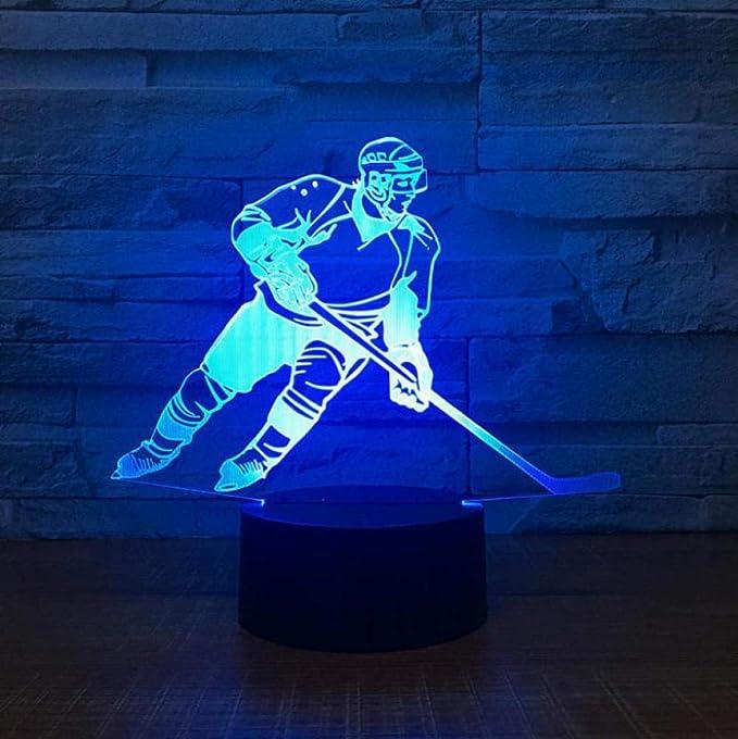 Hockey Schreibtischlampen Bunt Acryl Nachtlicht Led Atmosphare Bett Sideration Led Usb 3d Eishockey Lampe 3d Leuchten Amazon De Beleuchtung