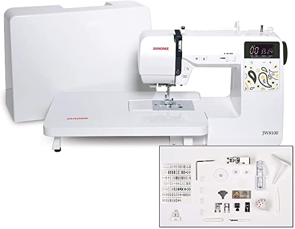 Amazon Com Janome Jw8100 Fully Featured Computerized Sewing Machine With 100 Stitches 7 Buttonholes Hard Cover Extension Table And 22 Accessories