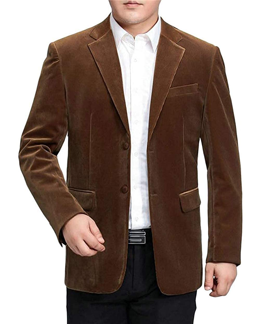 Mens Solid Color Two Button Corduroy Tailored Collar Coat Blazer Jacket